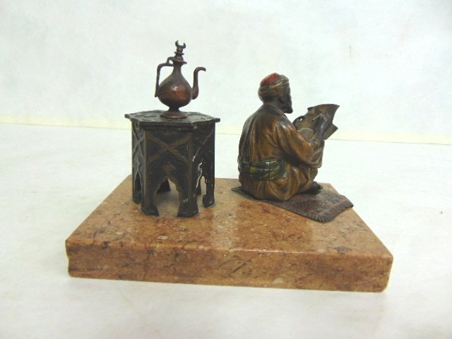 Antique Persian Cold Painted Bronze Ink Well - 4
