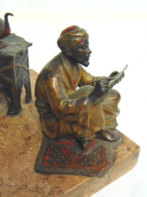 Antique Persian Cold Painted Bronze Ink Well - 5