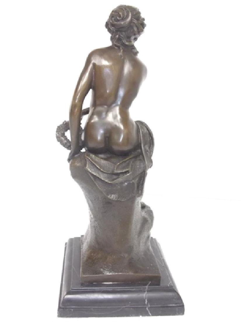 BRONZE GREEK NUDE FEMALE W/ MARBLE BASE - 6