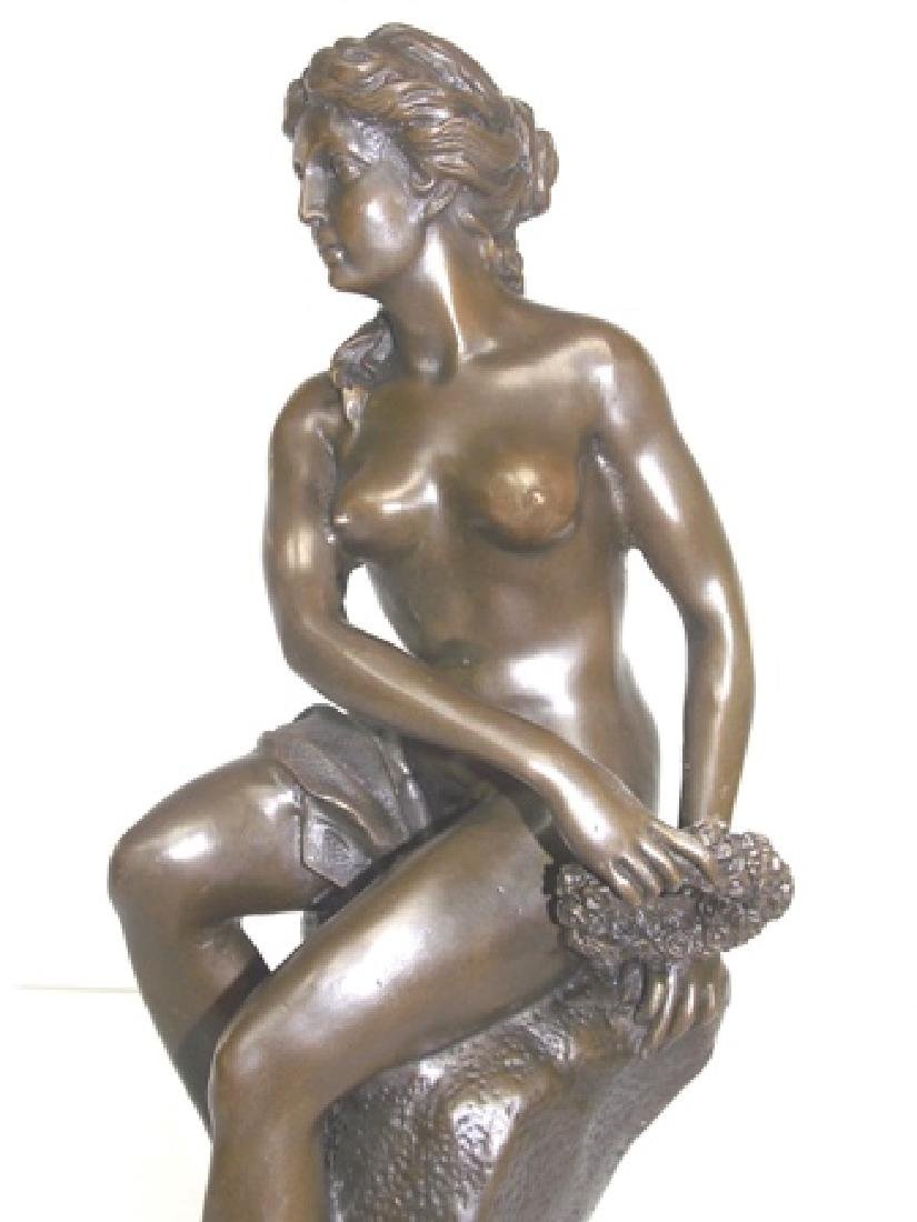 BRONZE GREEK NUDE FEMALE W/ MARBLE BASE - 8