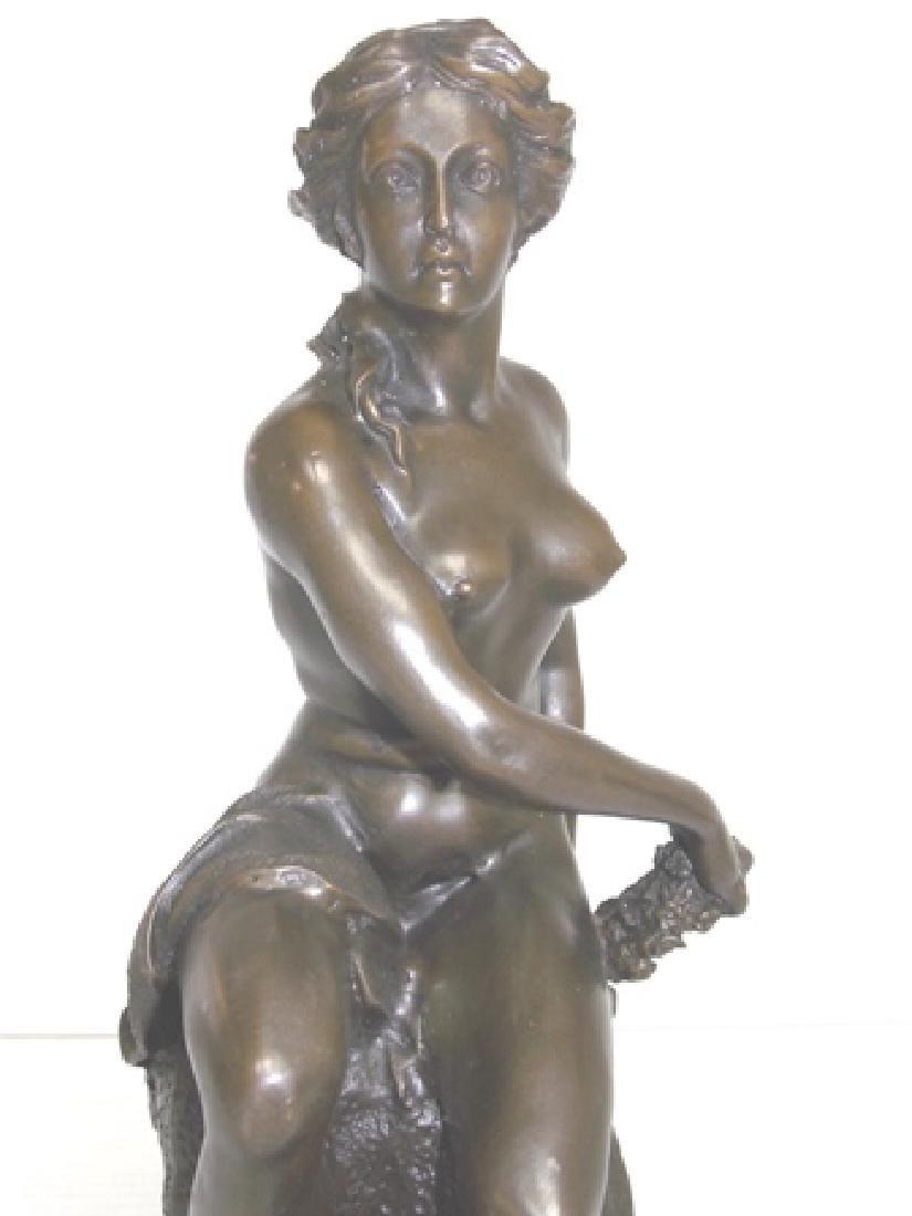 BRONZE GREEK NUDE FEMALE W/ MARBLE BASE - 9