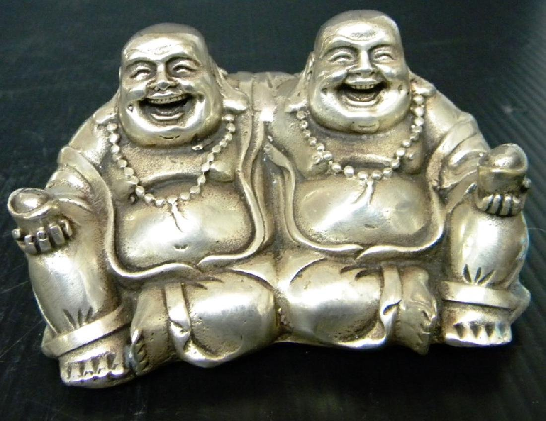 CHINESE WHITE BRONZE DOUBLE BUDDHA STATUE
