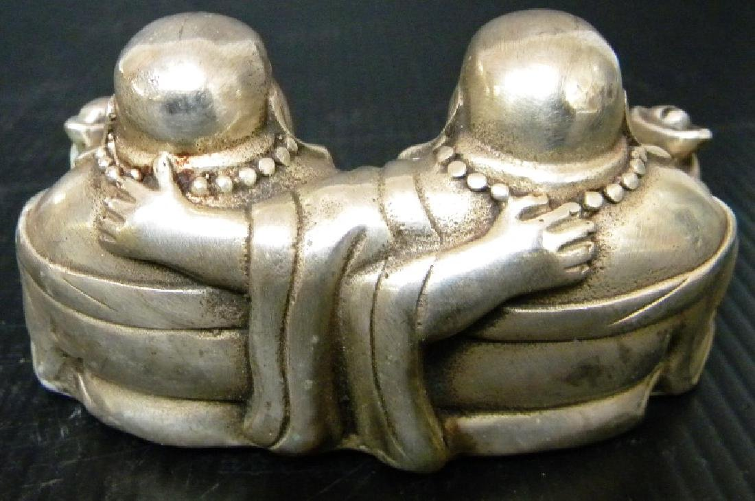 CHINESE WHITE BRONZE DOUBLE BUDDHA STATUE - 2
