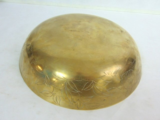 STUNNING VINTAGE BRASS CHINESE ETCHED BOWL - 5