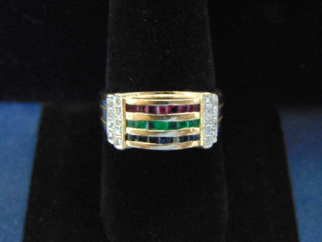 VINTAGE 14K GOLD & DIAMOND RING W/ MULTI COLORED STONES