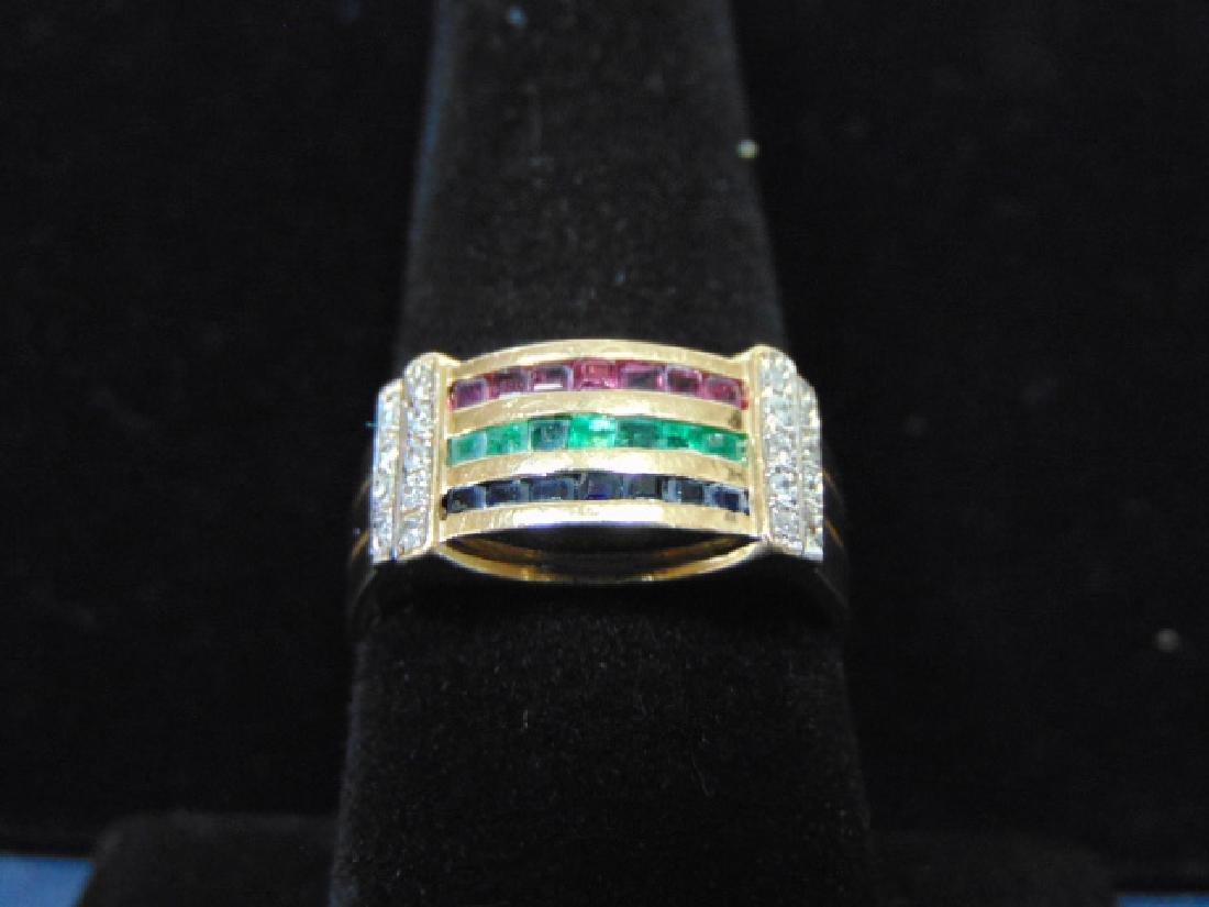 VINTAGE 14K GOLD & DIAMOND RING W/ MULTI COLORED STONES - 2