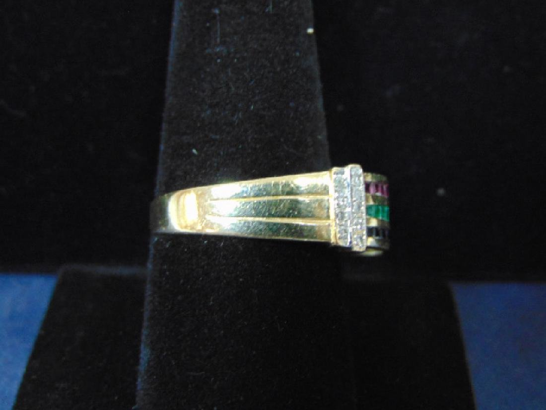 VINTAGE 14K GOLD & DIAMOND RING W/ MULTI COLORED STONES - 3