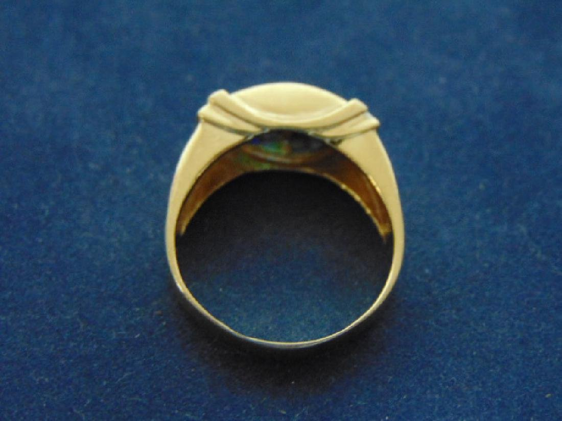 VINTAGE 14K GOLD & DIAMOND RING W/ MULTI COLORED STONES - 6