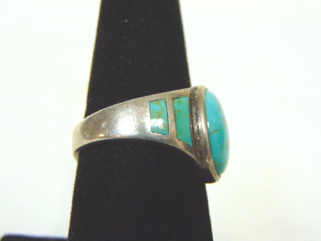 Impressive Sterling Silver & Turquoise Ring - 2