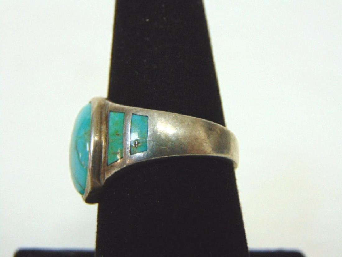 Impressive Sterling Silver & Turquoise Ring - 3