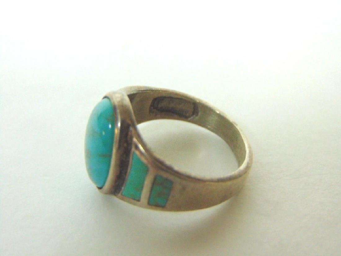 Impressive Sterling Silver & Turquoise Ring - 5