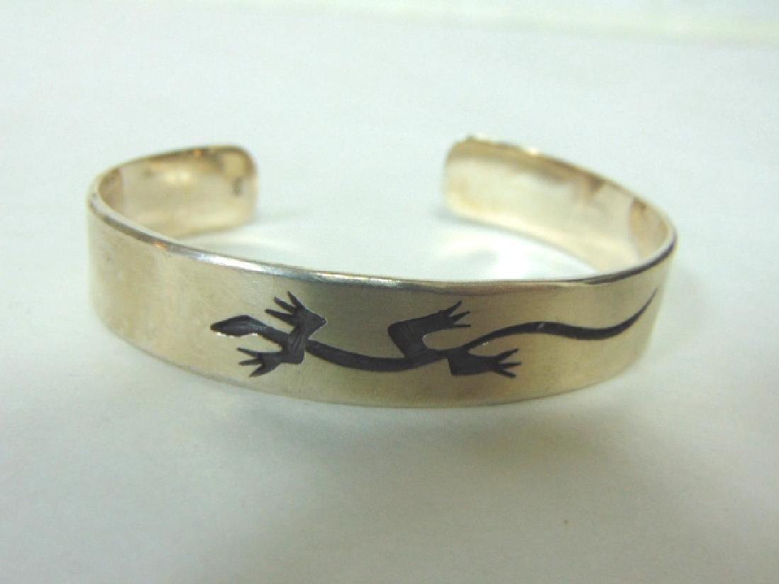 Sterling Silver Cuff Bracelet w/ Sothwestern Lizard