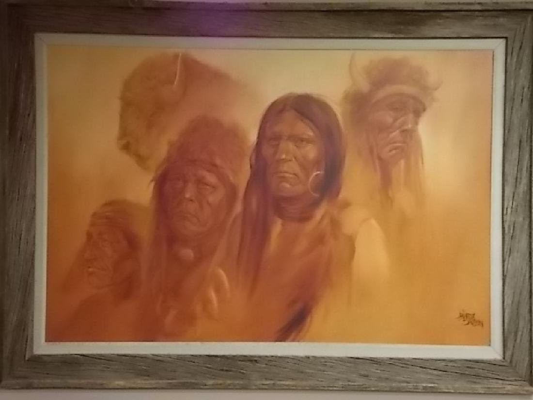 RARE MONUMENTAL LOPEZ BAYLON NATIVE AMERICAN PAINTING