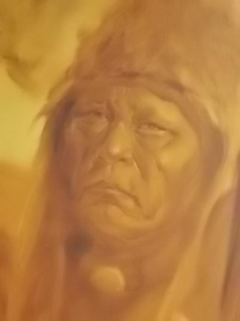 RARE MONUMENTAL LOPEZ BAYLON NATIVE AMERICAN PAINTING - 4