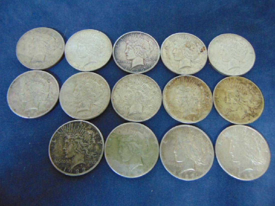LOT OF 14 ESTATE SILVER PEACE DOLLAR COINS