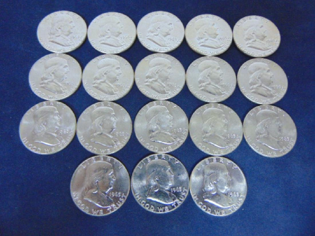 18 UNCIRCULATED 1963 SILVER HALF DOLLAR FRANKLIN COINS
