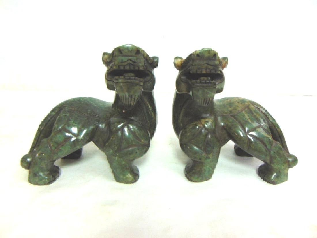 PR VINTAGE CHINESE CARVED HARD STONE FOO DOG LIONS