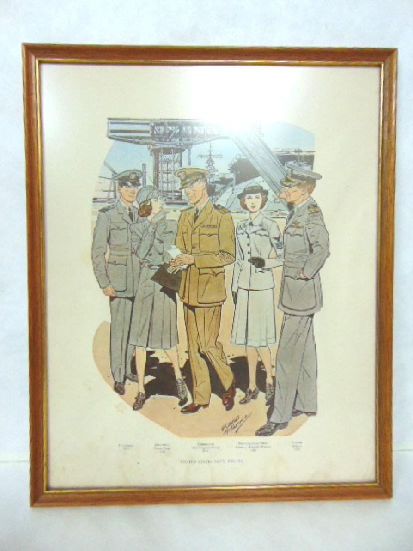 VINTAGE U.S. NAVY WWll WORLD WAR OFFICERS PRINT LITHO