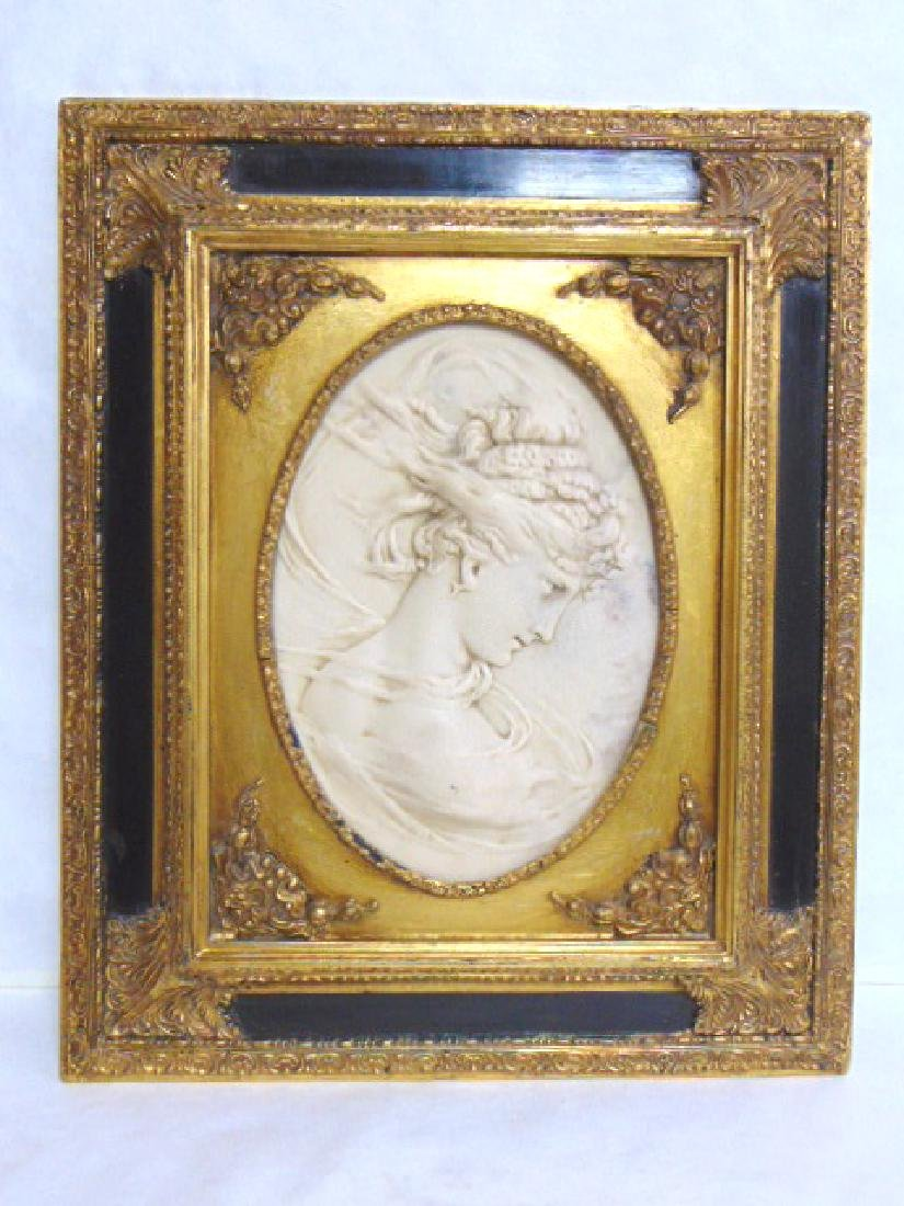 INCREDIBLE VICTORIAN MARBLE PLAQUE OF WOMAN
