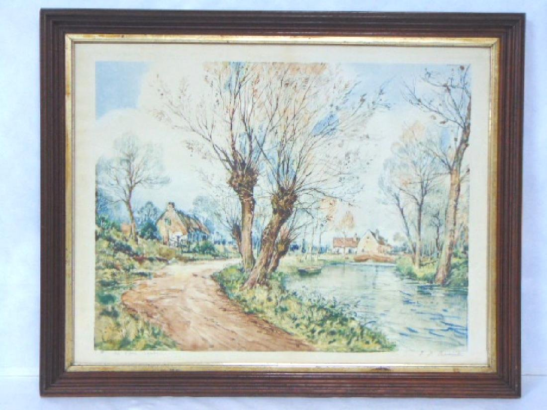 ANTIQUE PARIS ETCHING SOCIETY AQUATINT W/ WALNUT FRAME