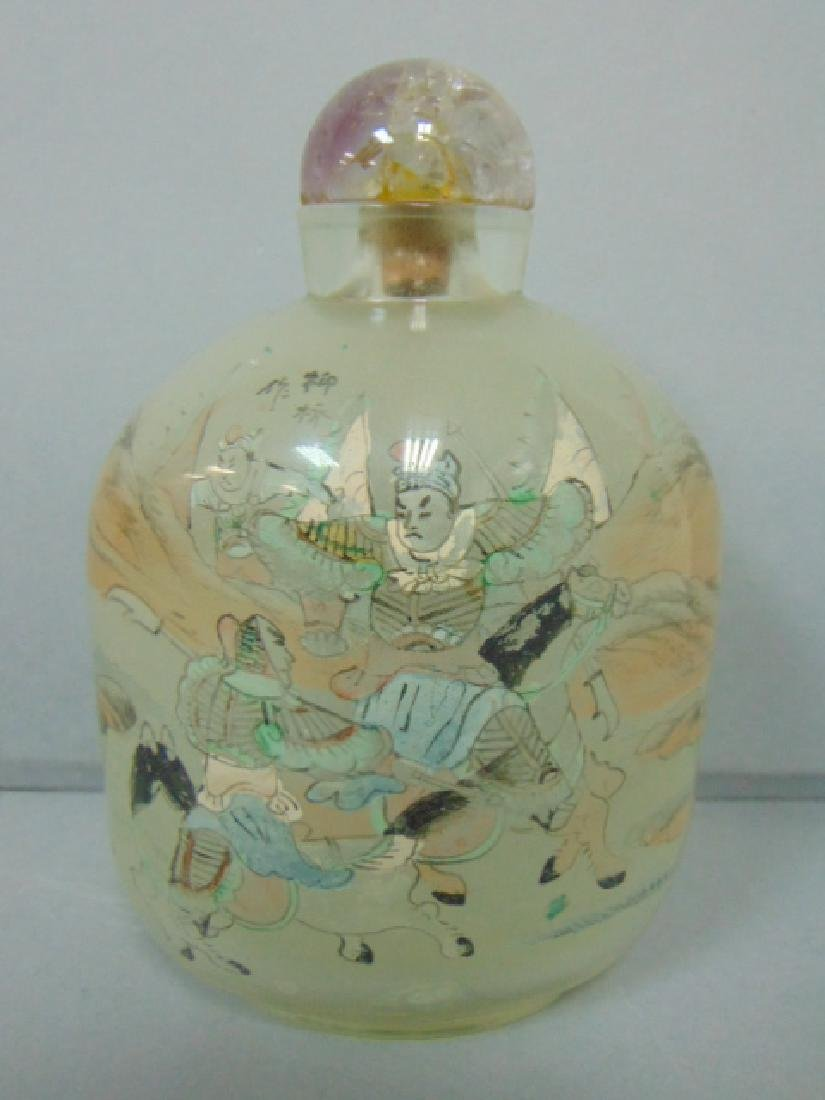 ANTIQUE CHINESE REVERSE PAINTED SNUFF BOTTLE W/ WARRIOR