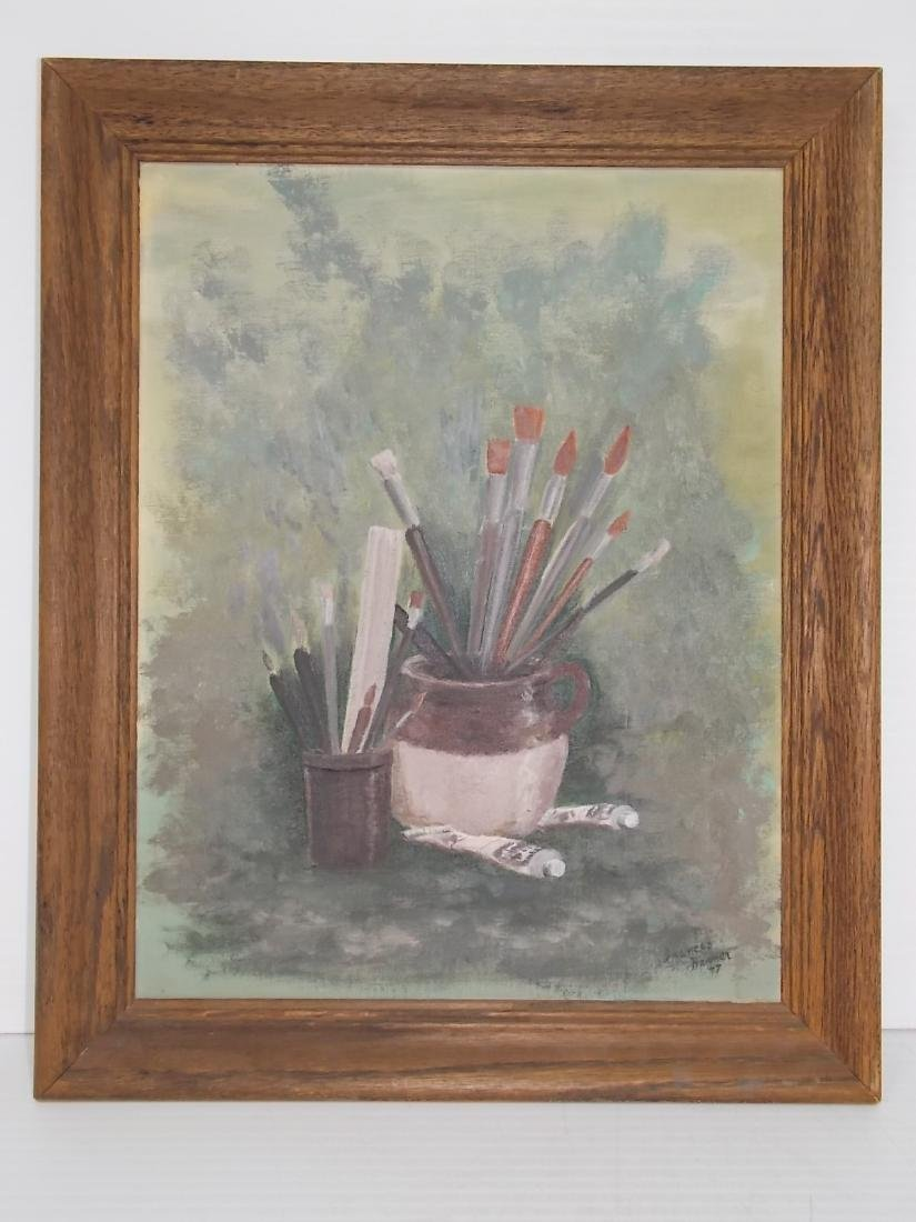 VINTAGE OIL PAINTING ON BOARD SIGNED HARMER