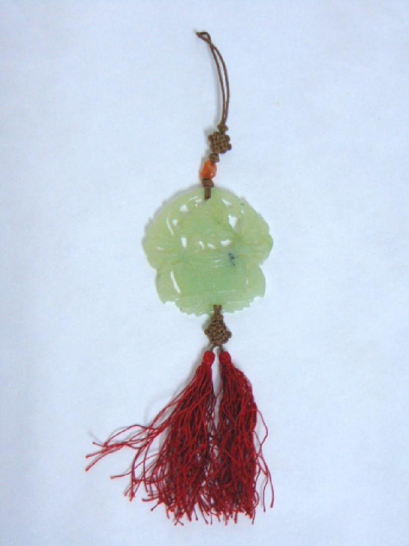 ANTIQUE CHINESE JADE FLOWER POT AMULET