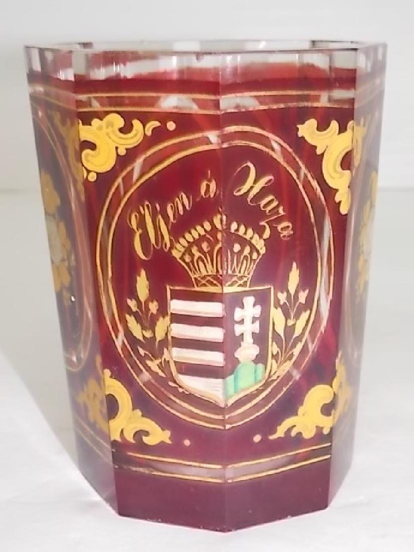 RARE ANTIQUE CZECH BOHEMIAN OCTAGONAL RUBY SPA GLASS