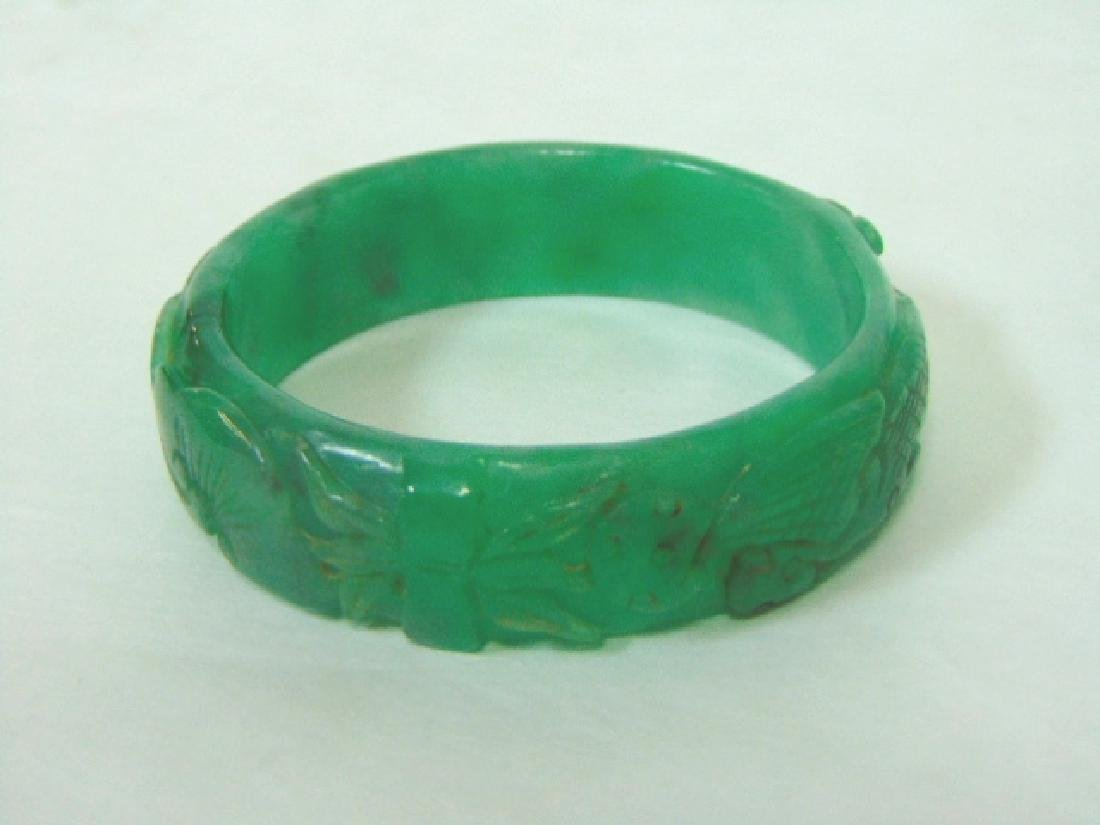 ANTIQUE HAND CARVED CHINESE GRADE A JADE BRACELET