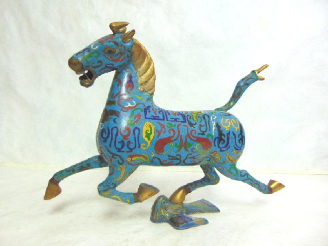 VINTAGE ANTIQUE CHINESE CLOISONNE MING STYLE HORSE