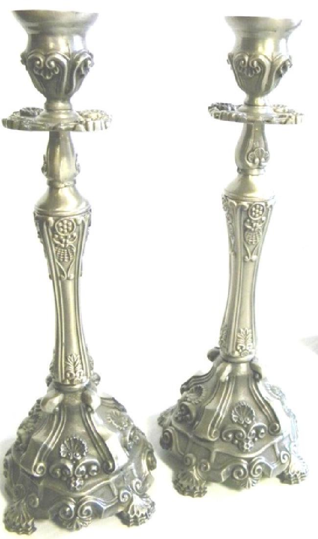 DECORATIVE KARSHI JERUSALEM PEWTER CANDLESTICKS