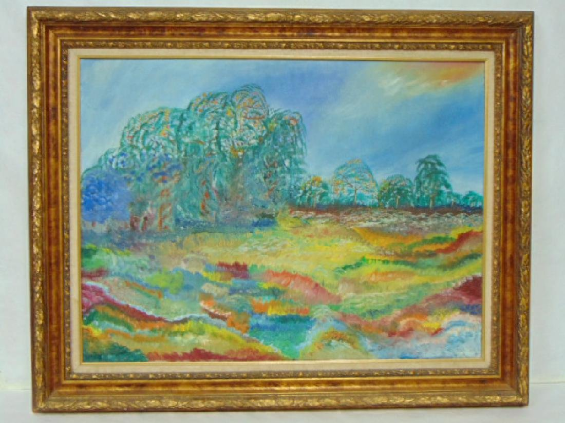 VINTAGE OIL ON CANVAS IMPRESSIONIST PAINTING
