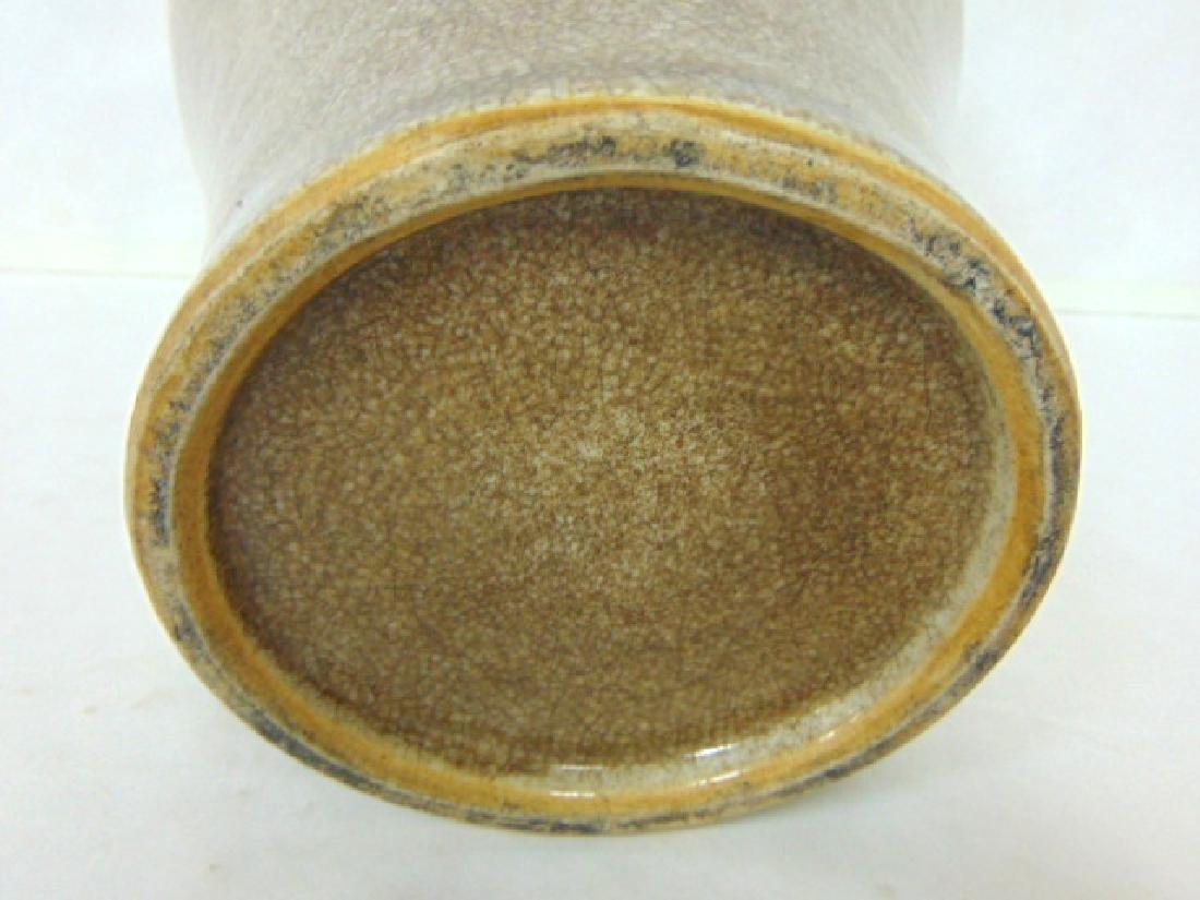 VINTAGE CHINESE CRACKLE GLAZE FLAMBE POTTERY VASE - 3