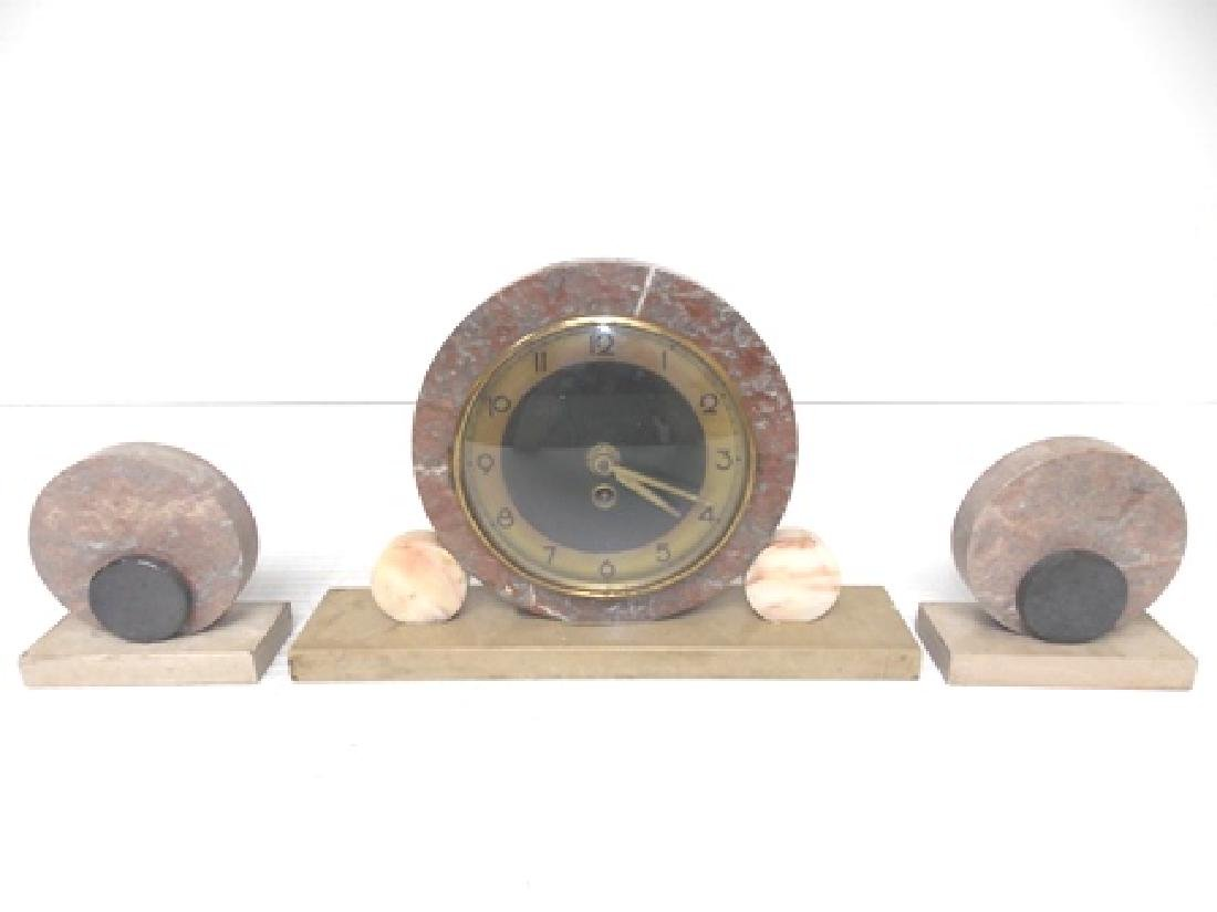 VINTAGE ANTIQUE ART DECO MARBLE CLOCK SET