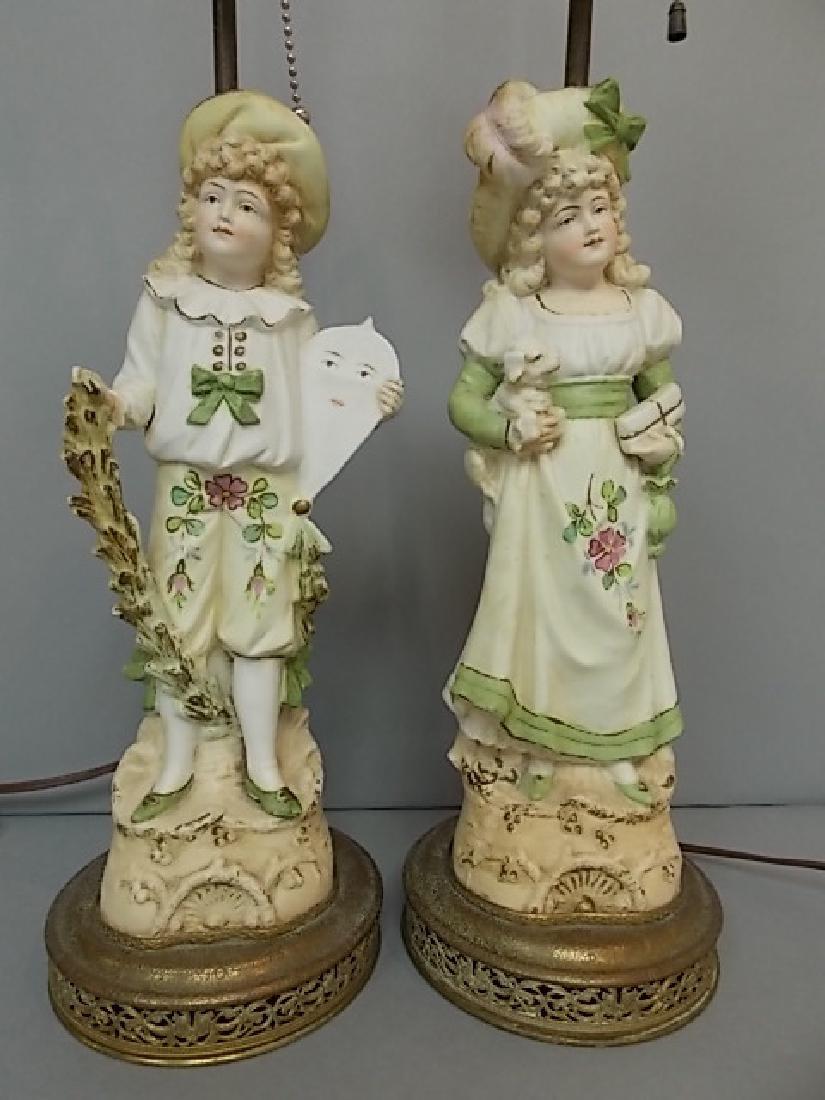 PR OF ANTIQUE PORCELAIN FIGURAL LAMPS W/ ORNATE BASE