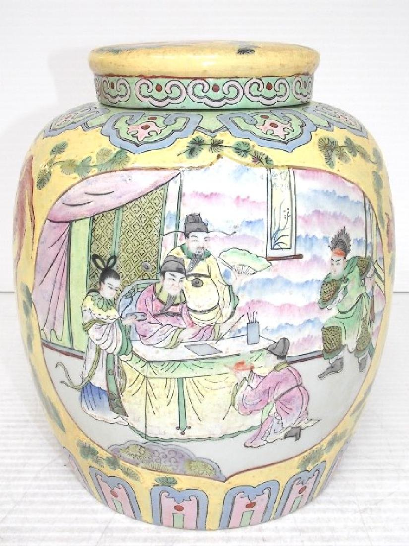 HAND PAINTED CHINESE ROSE FAMILLE TEA CADDY