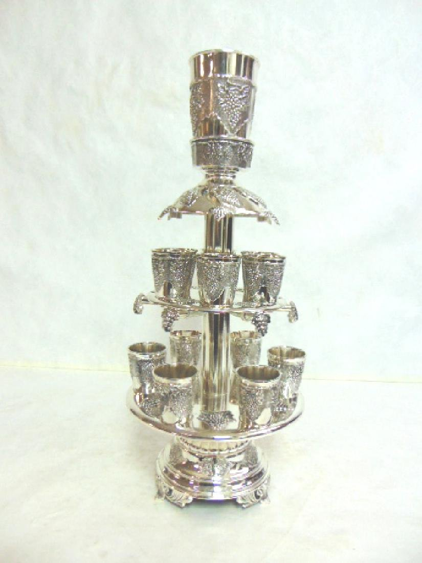 925 SILVER ELECTROPLATED 12 CUP JUDAICA WINE DISPENSER