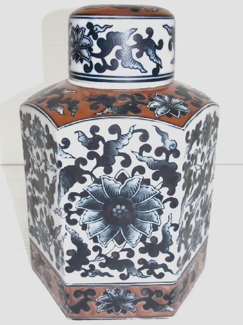 HEX SHAPED CHINESE PORCELAIN TEA CADDY