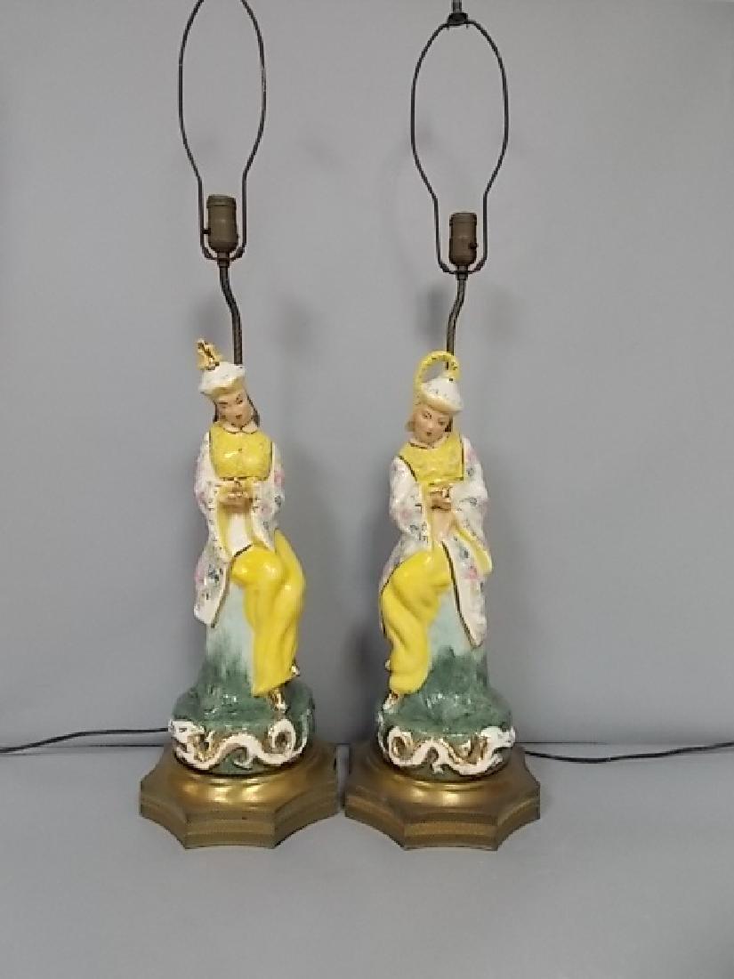 PR ANTIQUE CHINESE EMPRESS DRAGON LAMPS