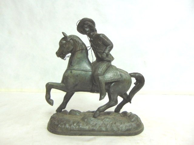 ANTIQUE CAST METAL  CAVALIER HORSE FIGURE CLOCK TOPPER