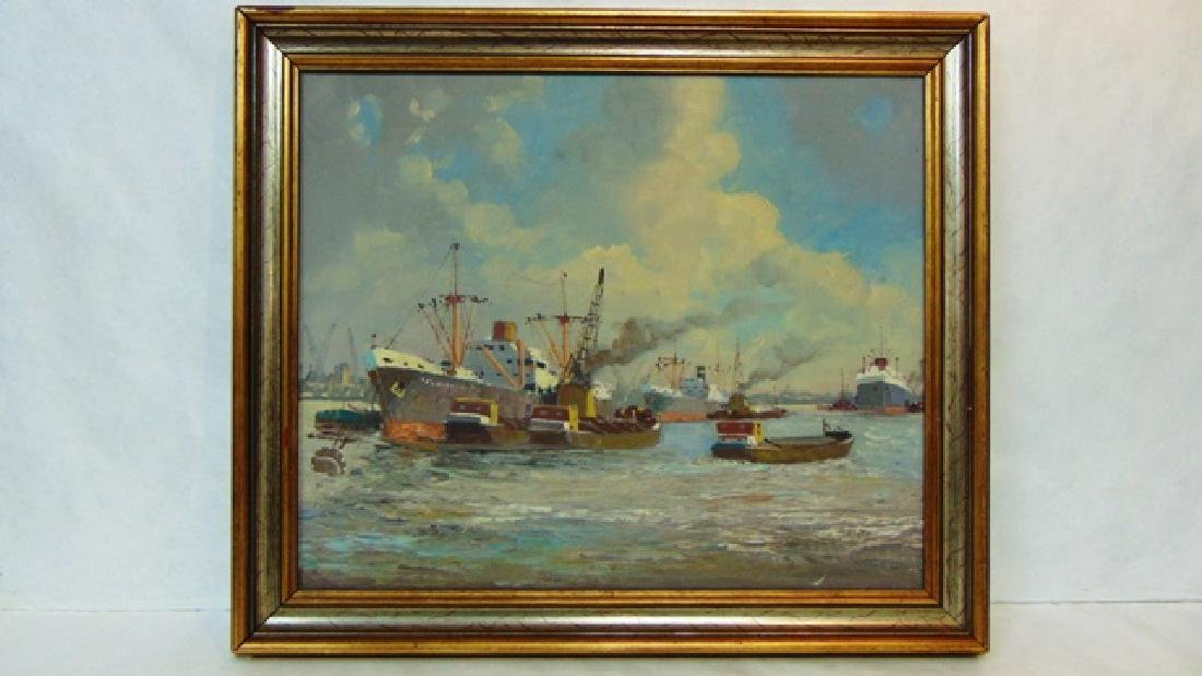 VINTAGE OIL ON CANVAS SEASCAPE LISTED ARTIST HEADERMANN