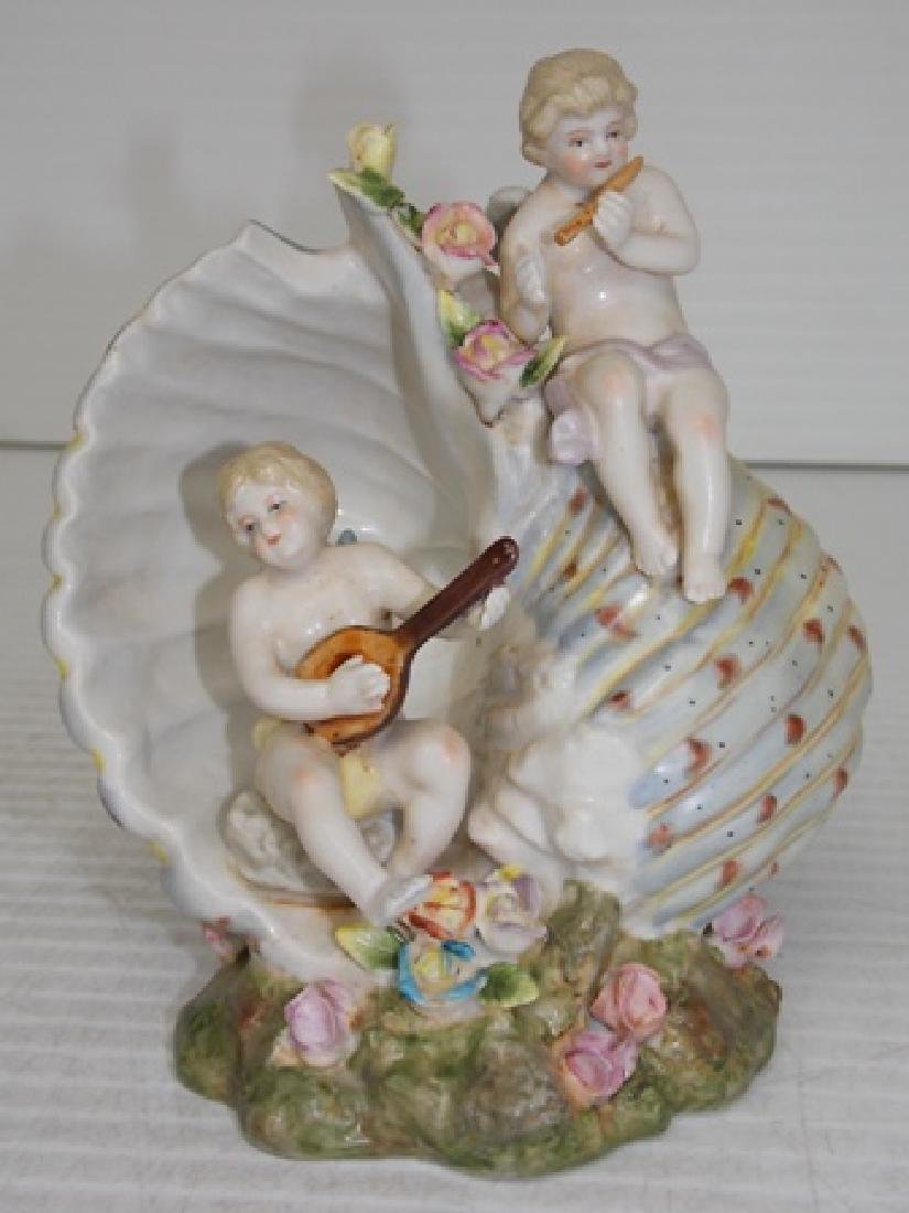 HAND PAINTED FLORAL PORCELAIN SHELL W/ CHERUBS
