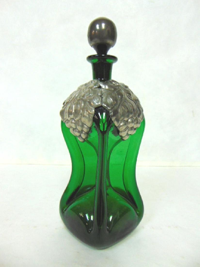 VINTAGE HAND BLOWN ART GLASS DECANTER W/ PEWTER