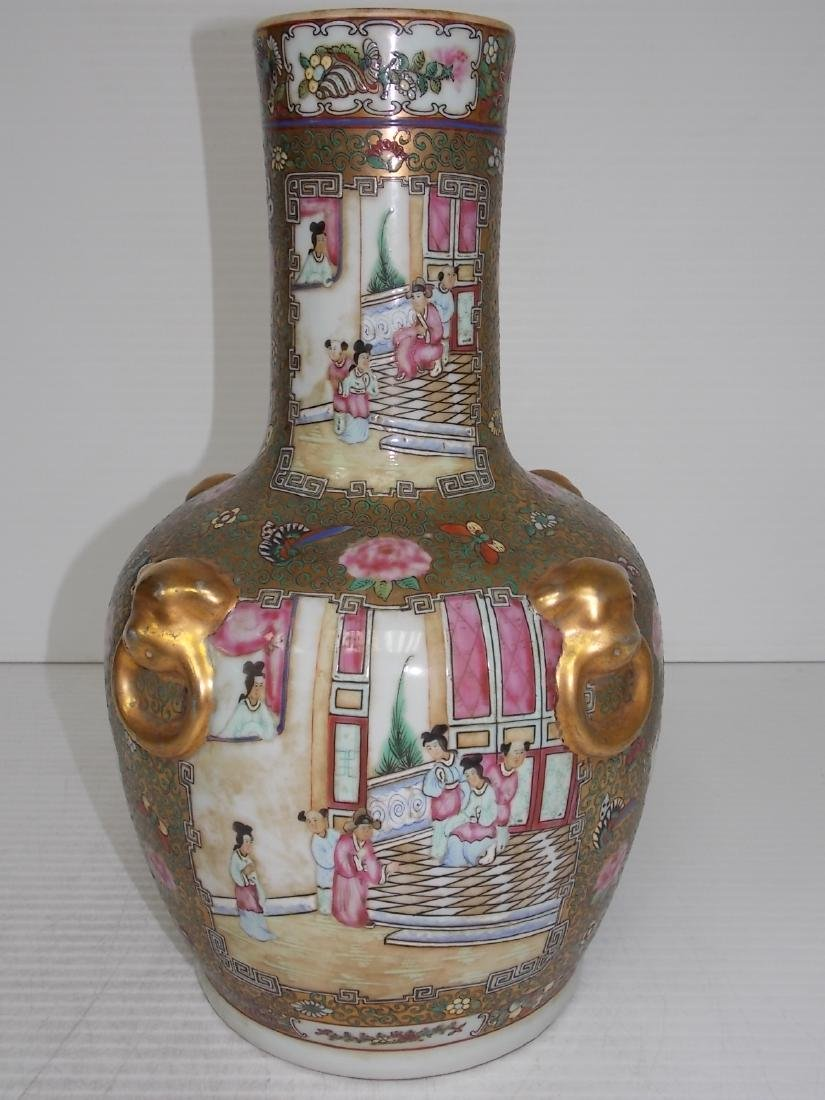 HAND PAINTED CHINESE PORCELAIN ROSE MEDALLION VASE