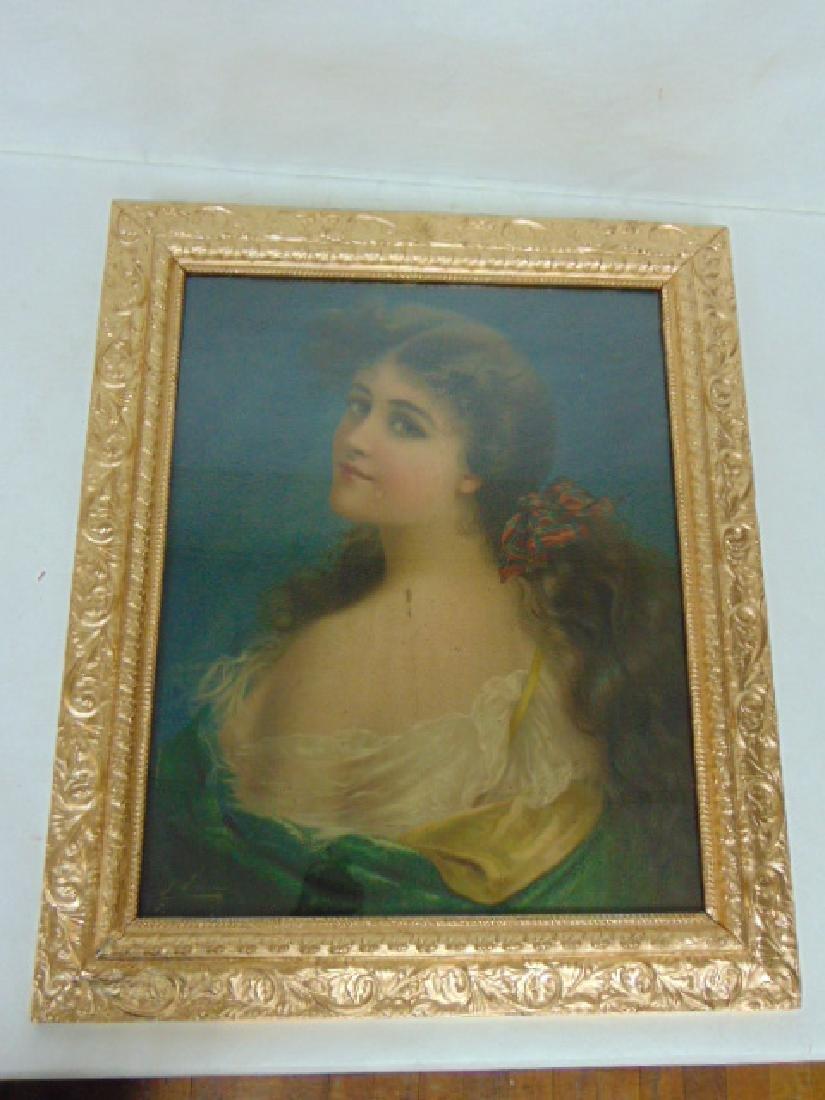 ANTIQUE VICTORIAN ART NOUVEAU PRINT OF WOMAN W/ FRAME