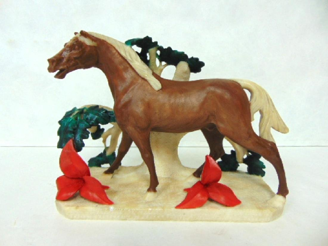 ANTIQUE HAND PAINTED MARBLE ALABASTER HORSE STATUE