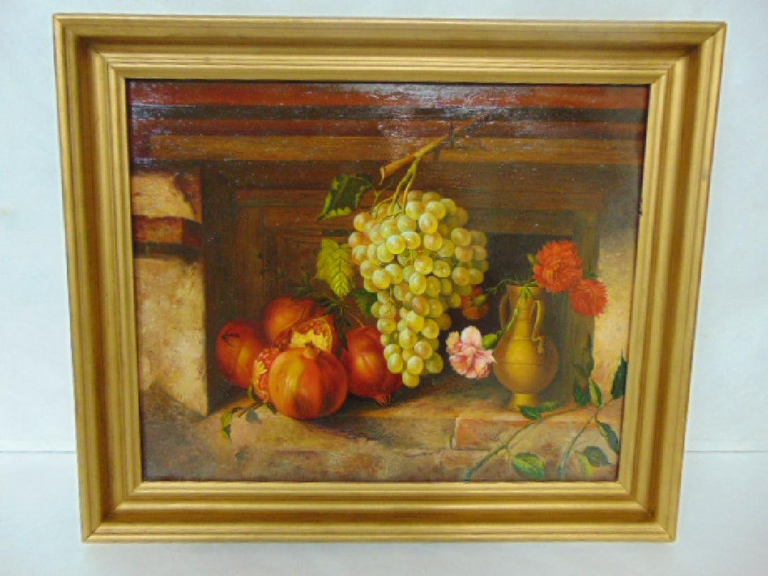 AMAZING ANTIQUE STILL LIFE OIL PAINTING ON COPPER