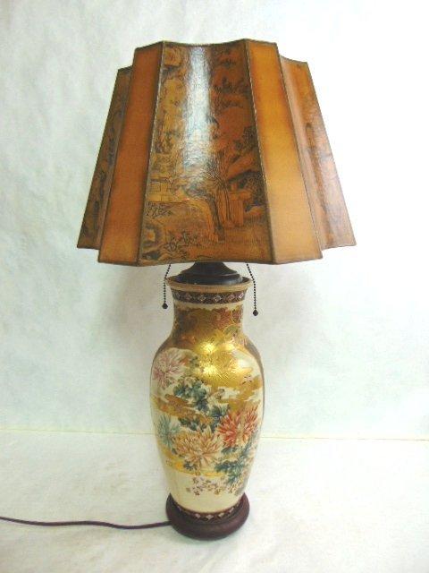 Antique Hand Painted Satsuma Vase Lamp w/ Asian Shade