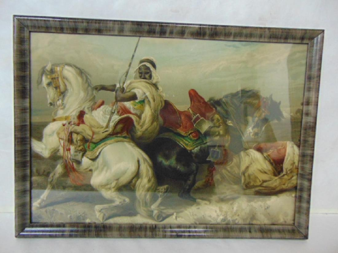 ANTIQUE ARAB WARRIOR HORSE PRINT W/ FRAME