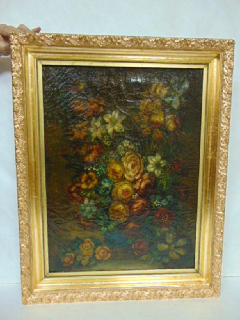 19TH C. ANTIQUE OIL ON CANVAS FLORAL PAINTING
